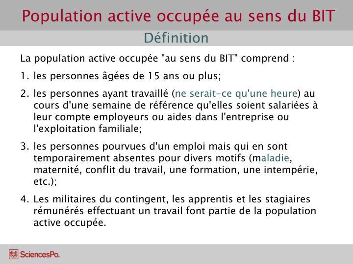 Population active occupée au sens du BIT