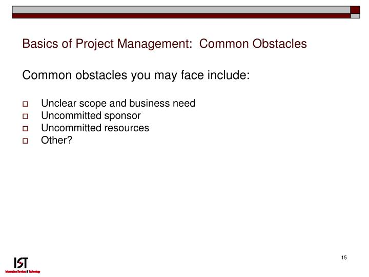 Basics of Project Management:  Common Obstacles
