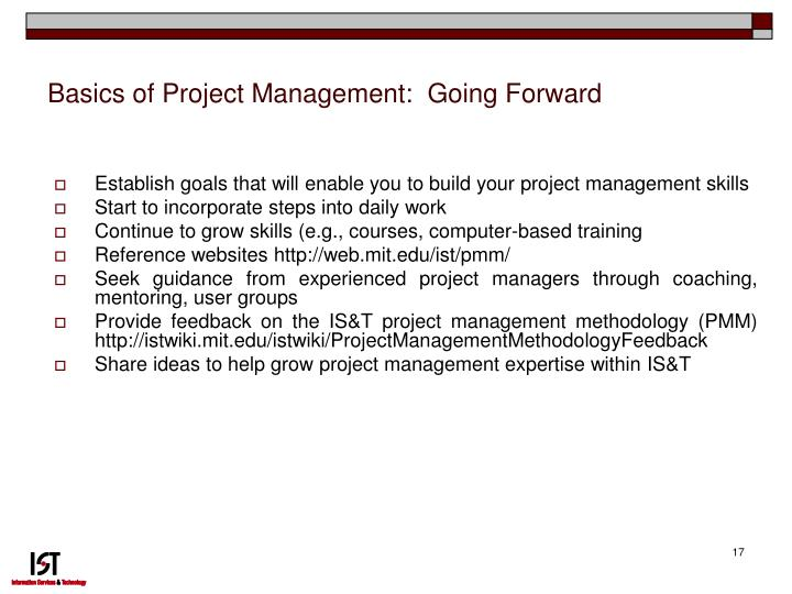 Basics of Project Management:  Going Forward