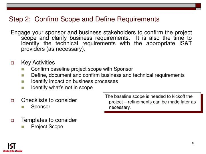 Step 2:  Confirm Scope and Define Requirements