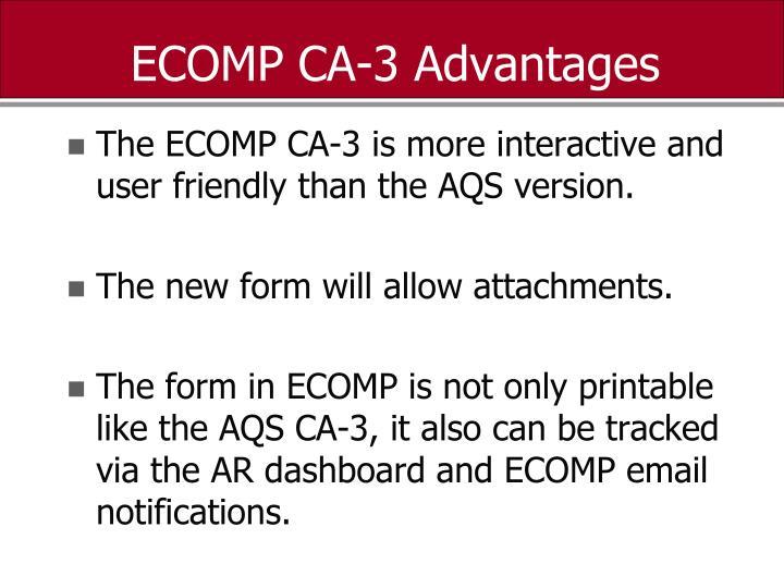 ECOMP CA-3 Advantages
