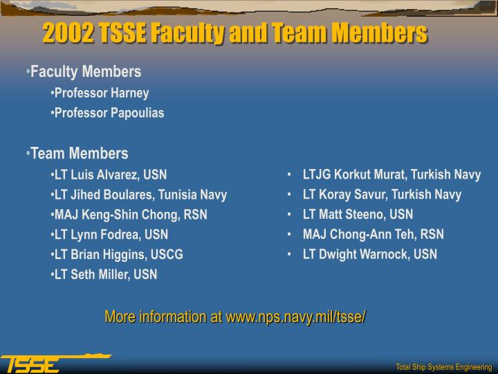 2002 tsse faculty and team members