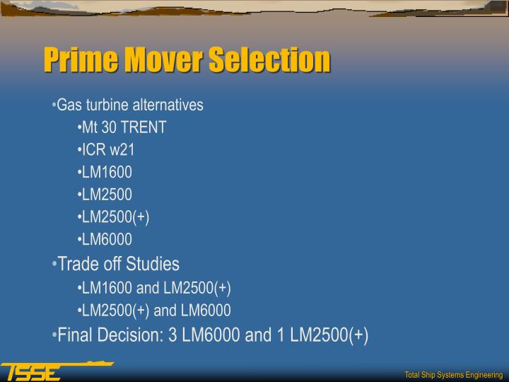 Prime Mover Selection