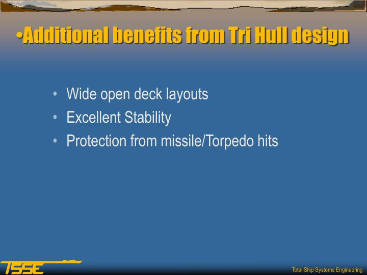 Additional benefits from Tri Hull design