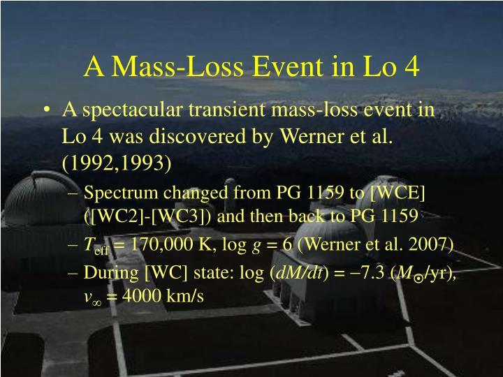 A Mass-Loss Event in Lo 4