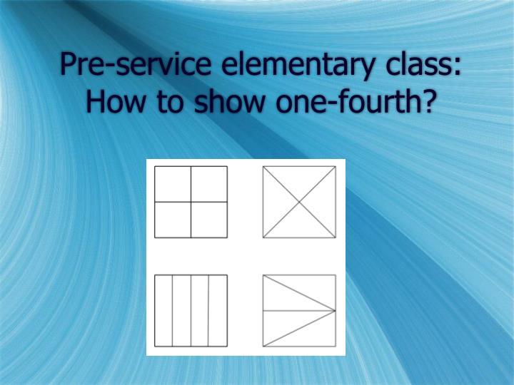 Pre-service elementary class: