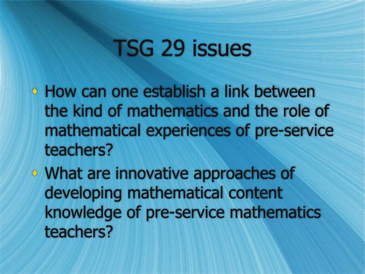 TSG 29 issues