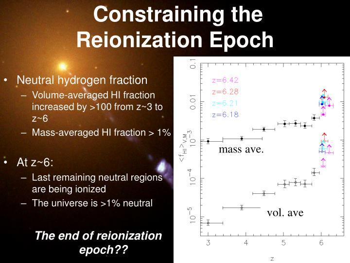 Constraining the Reionization Epoch