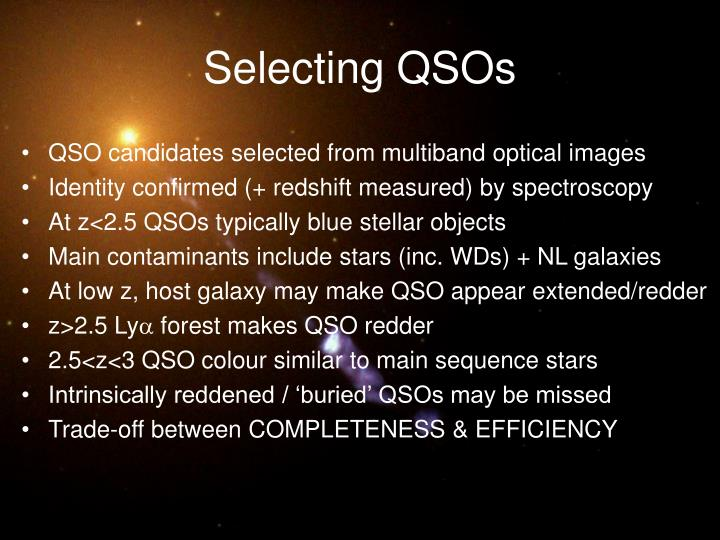 Selecting QSOs