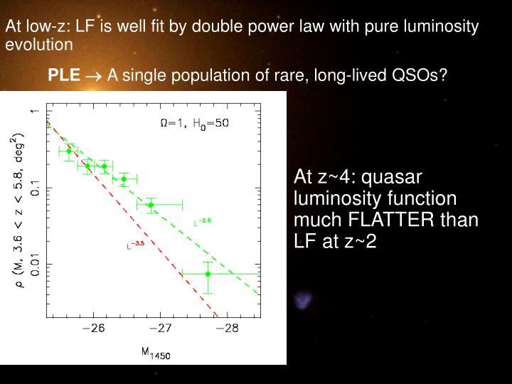 At low-z: LF is well fit by double power law with pure luminosity evolution