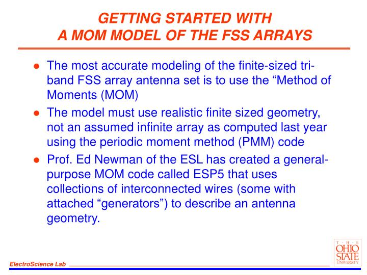 Getting started with a mom model of the fss arrays