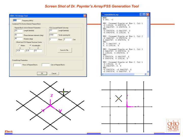 Screen Shot of Dr. Paynter's Array/FSS Generation Tool
