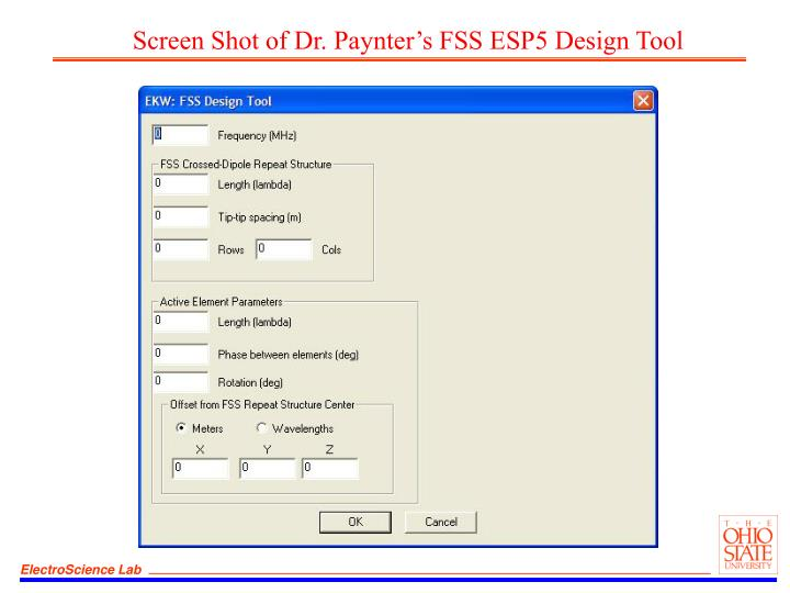 Screen Shot of Dr. Paynter's FSS ESP5 Design Tool