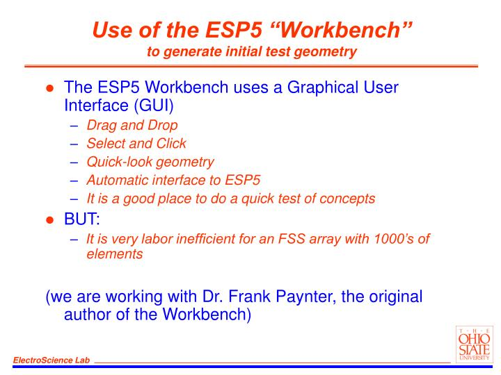 "Use of the ESP5 ""Workbench"""
