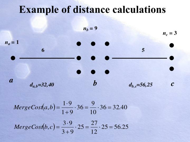 Example of distance calculations