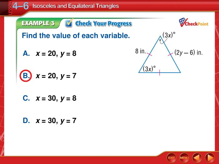 Find the value of each variable.