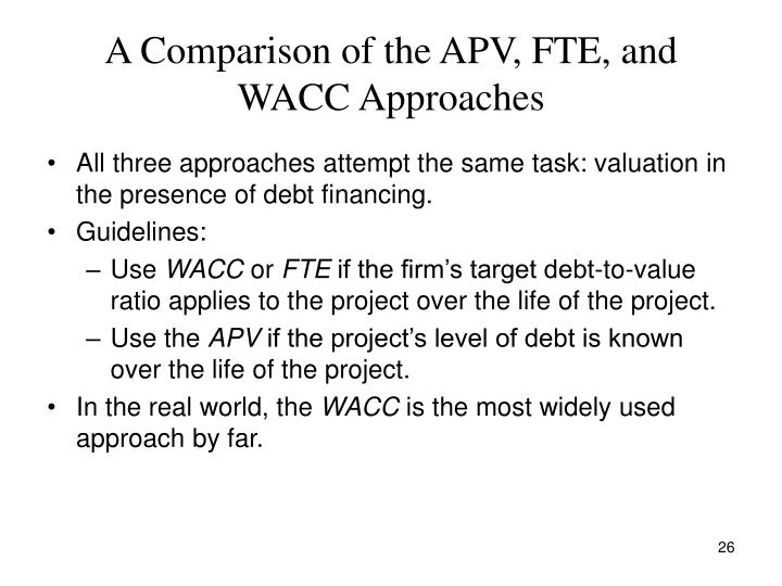 A Comparison of the APV, FTE, and WACC Approaches