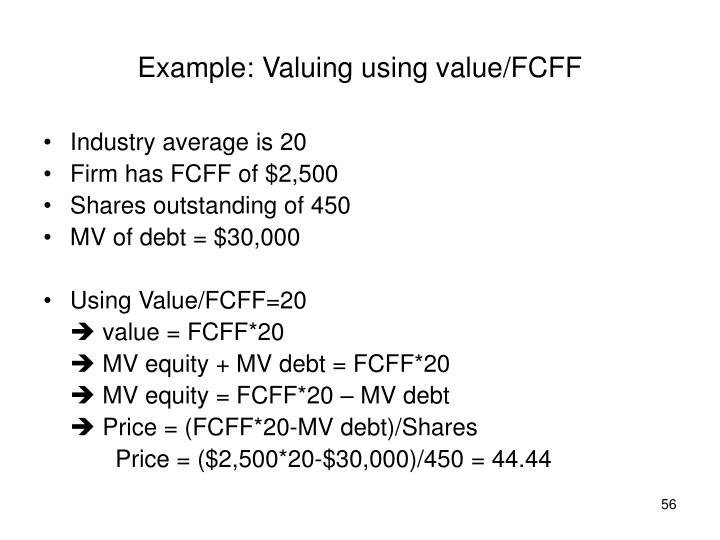 Example: Valuing using value/FCFF