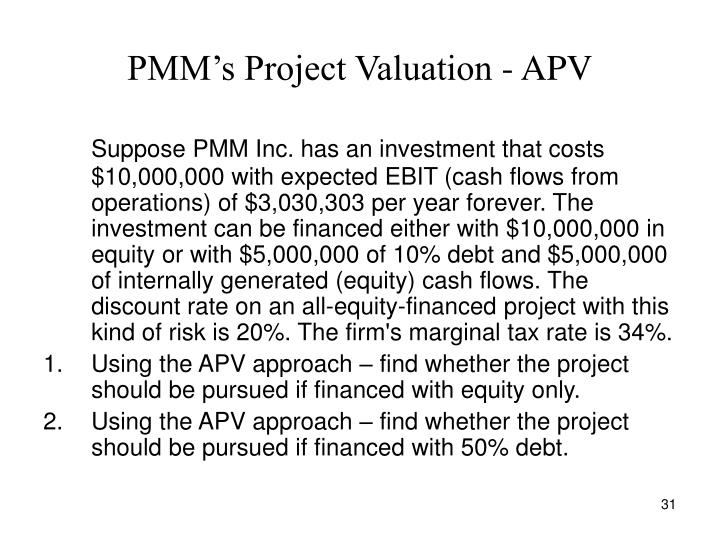 PMM's Project Valuation - APV