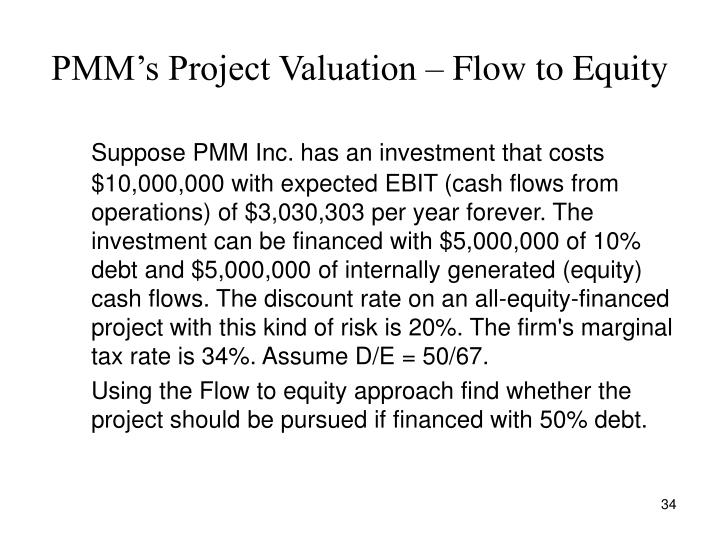 PMM's Project Valuation – Flow to Equity