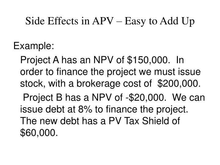 Side Effects in APV – Easy to Add Up