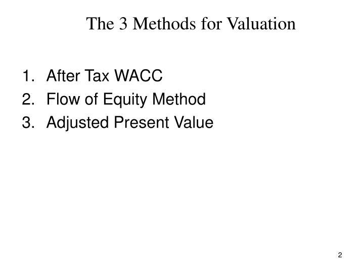 The 3 methods for valuation