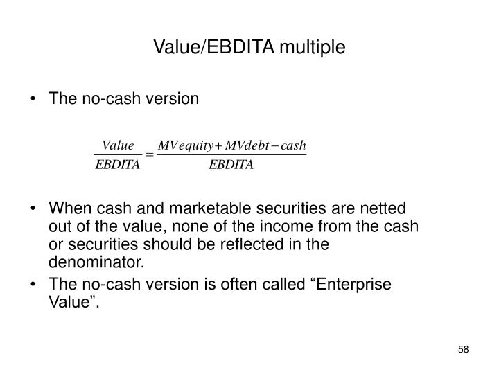 Value/EBDITA multiple
