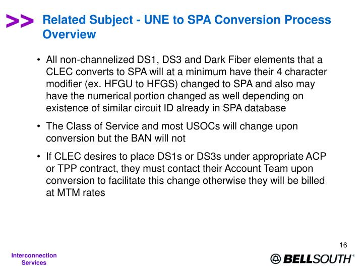 Related Subject - UNE to SPA Conversion Process Overview