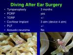 diving after ear surgery