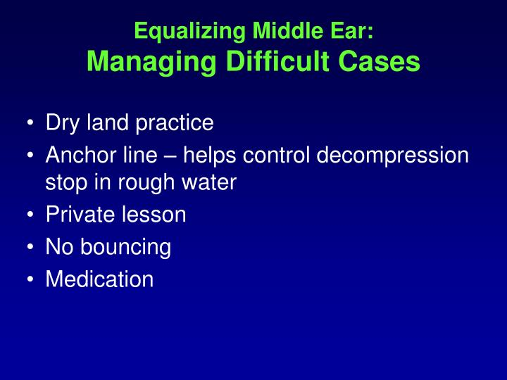 Equalizing Middle Ear: