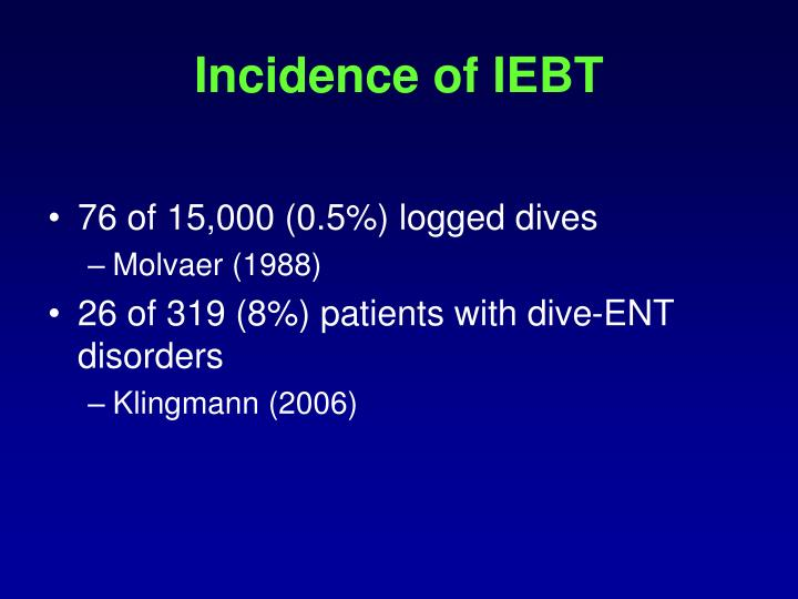 Incidence of IEBT