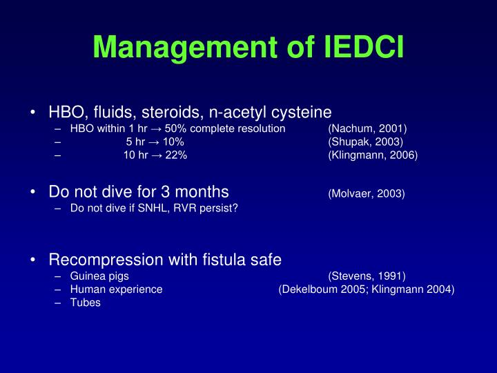Management of IEDCI