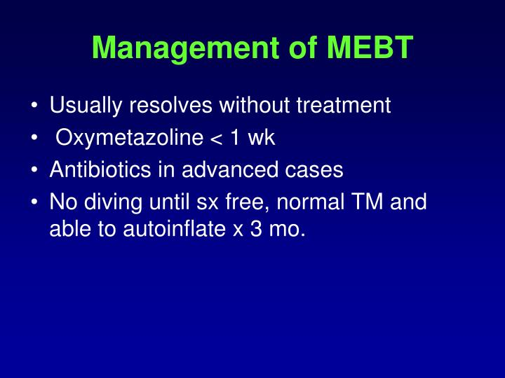 Management of MEBT