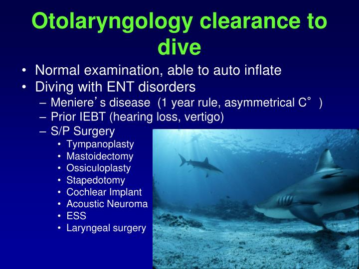 Otolaryngology clearance to dive