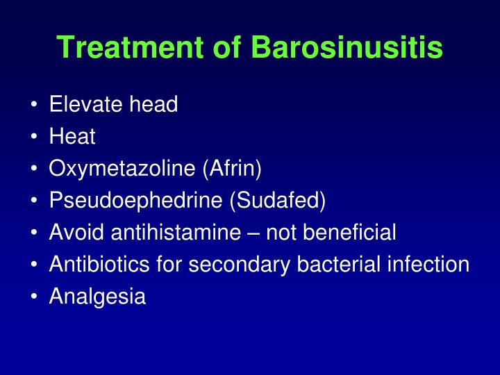 Treatment of Barosinusitis