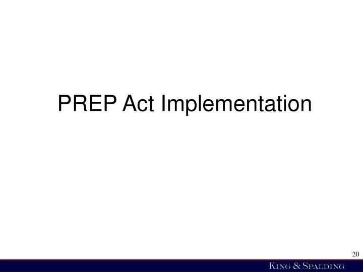 PREP Act Implementation