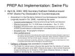 prep act implementation swine flu