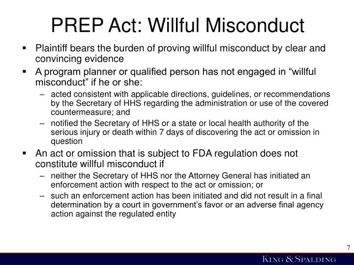 PREP Act: Willful Misconduct