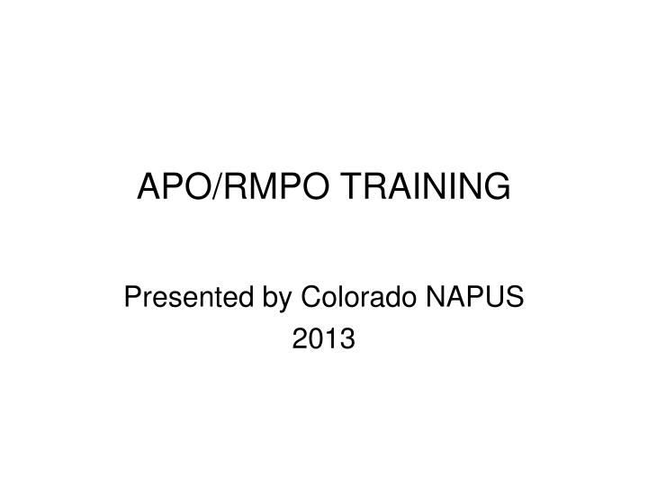 apo rmpo training