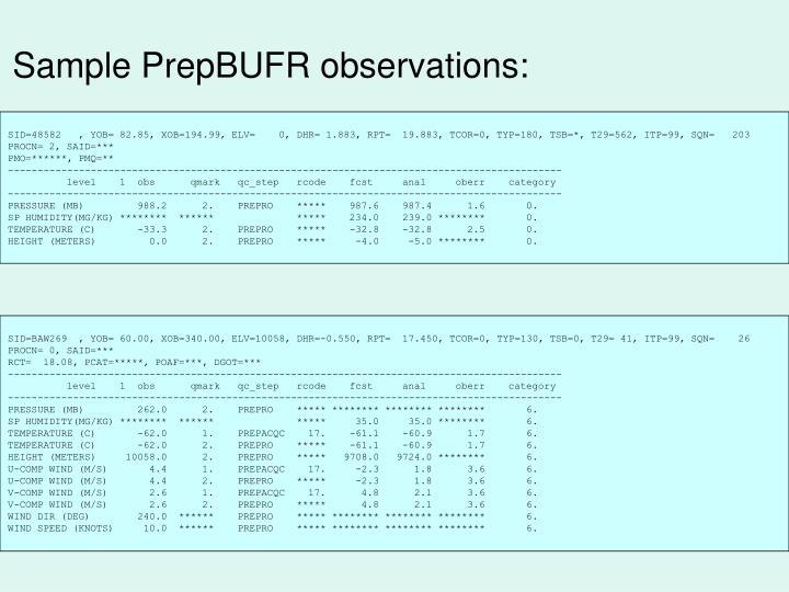 Sample PrepBUFR observations: