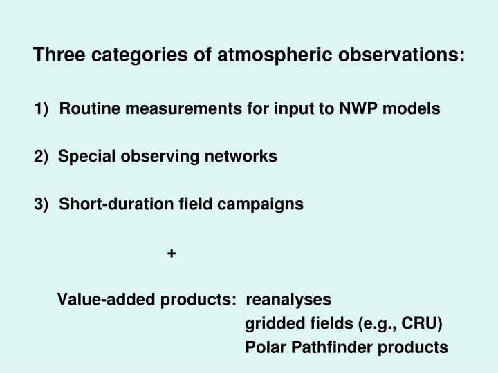 Three categories of atmospheric observations:
