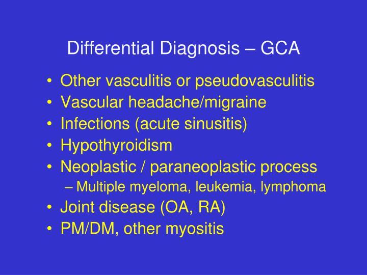 Differential Diagnosis – GCA
