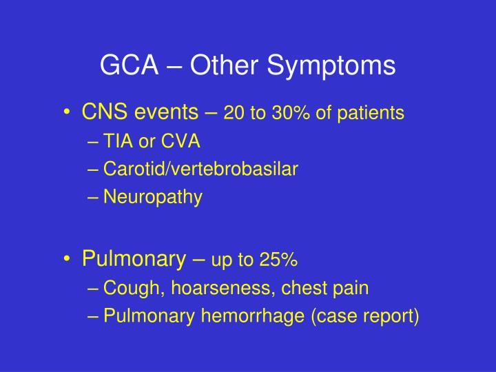 GCA – Other Symptoms