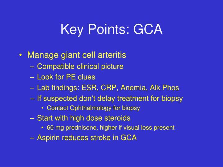 Key Points: GCA