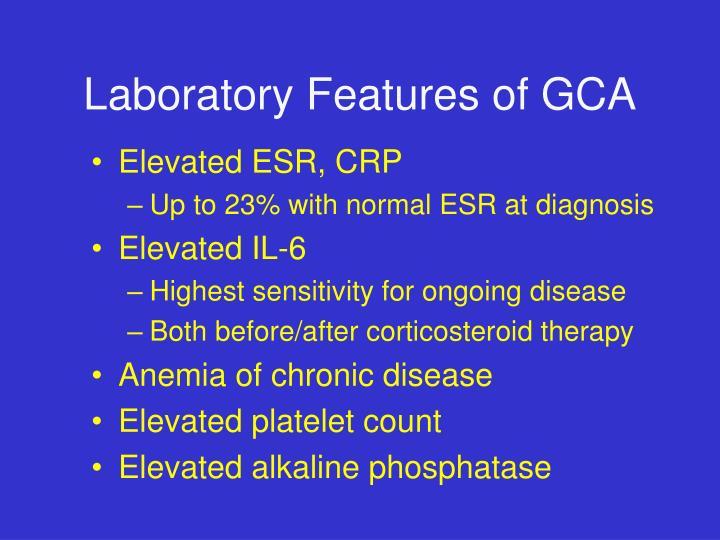 Laboratory Features of GCA