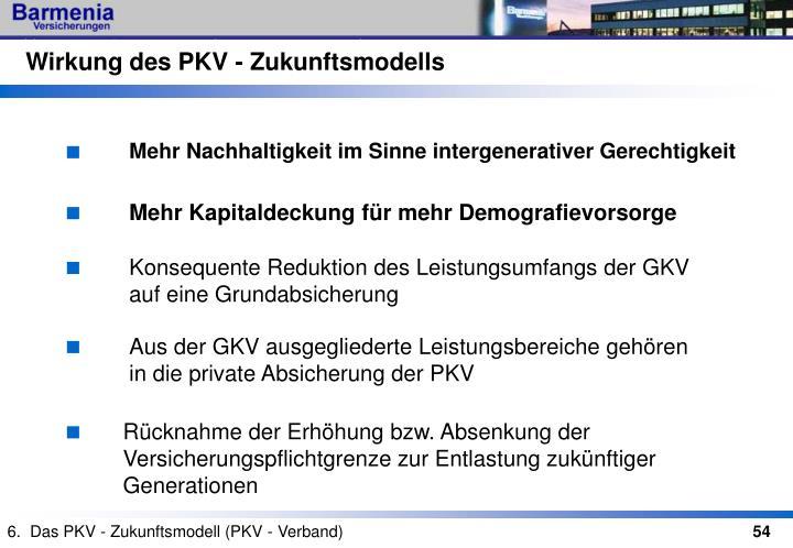 Wirkung des PKV - Zukunftsmodells