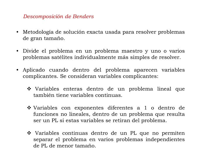Descomposición de Benders
