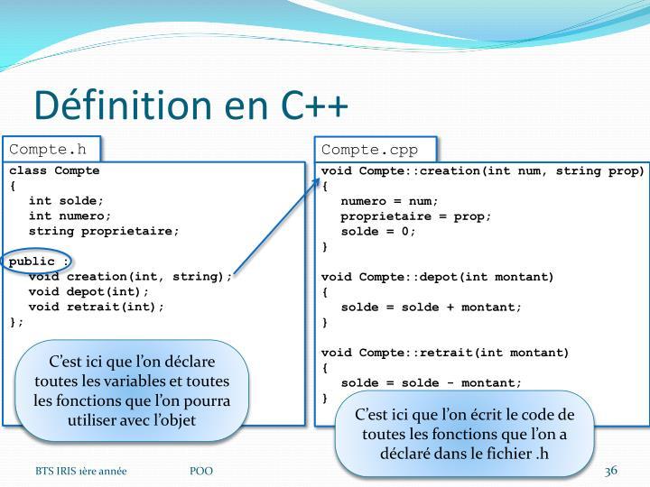Définition en C++