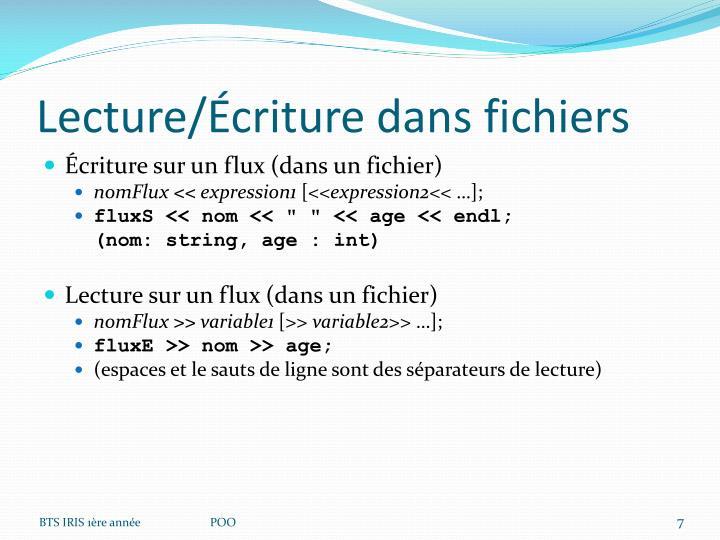Lecture/Écriture dans fichiers