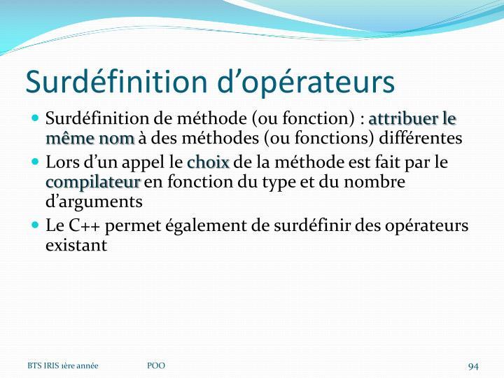 Surdéfinition d'opérateurs